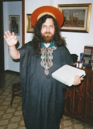 "Richard Stallman, dressed as ""Saint Ignucius"""